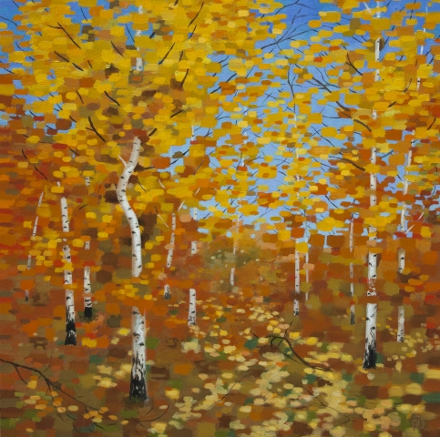 birch, forest, autumn, oil, painting