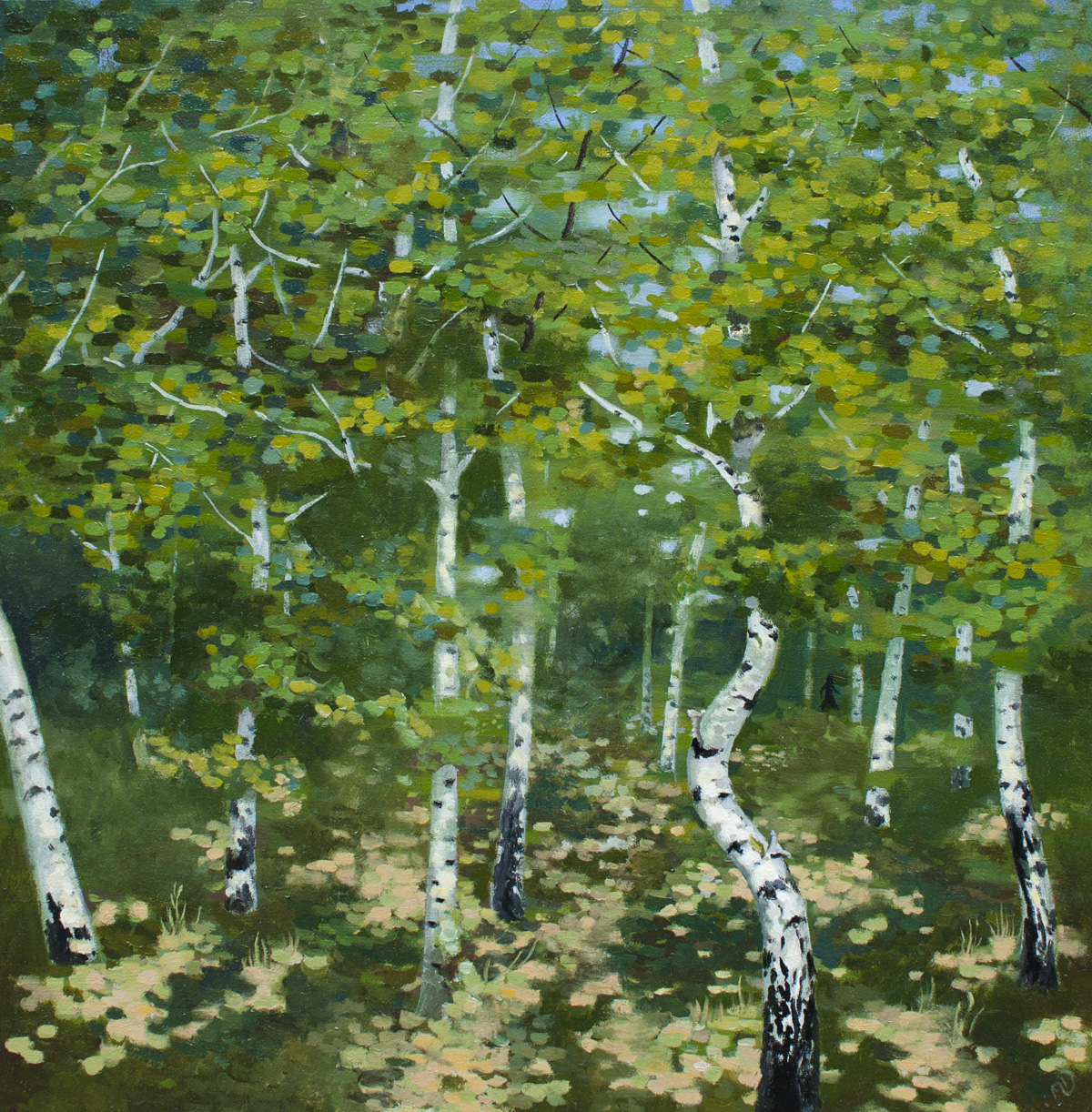 birch, forest, summer, tree, painting, landscape