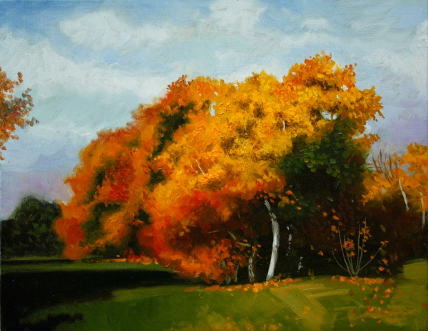 tree, fall, autumn, painting, oil, landscape