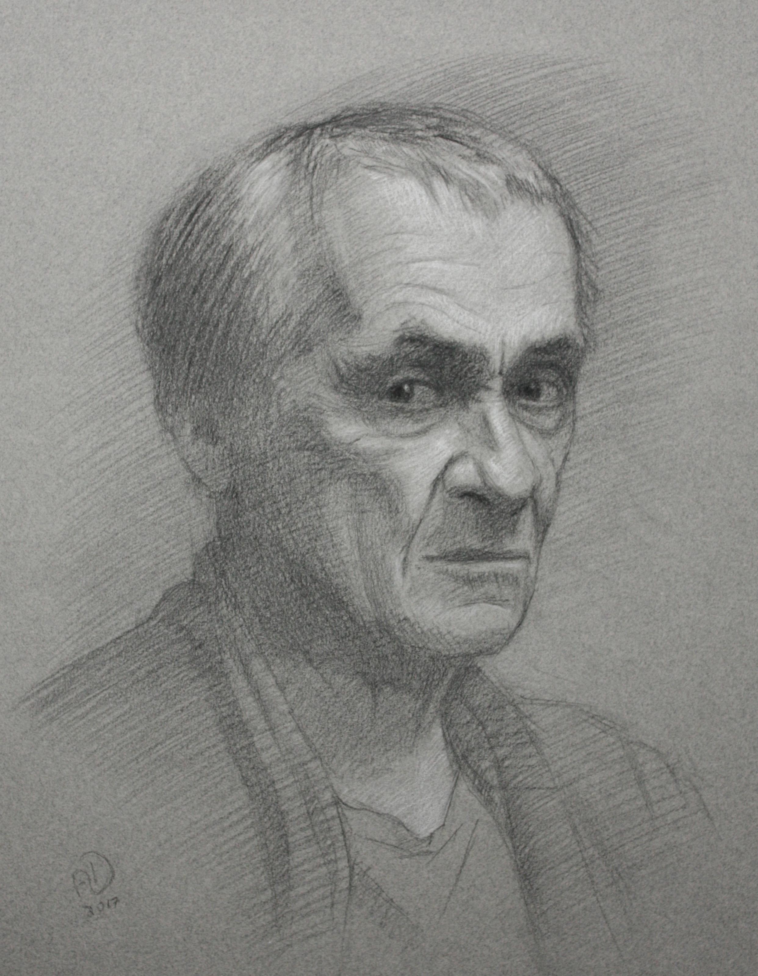 drawing, portrait, chalk, pencil, paper