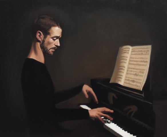 oil, painting, pianist, classical, portrait
