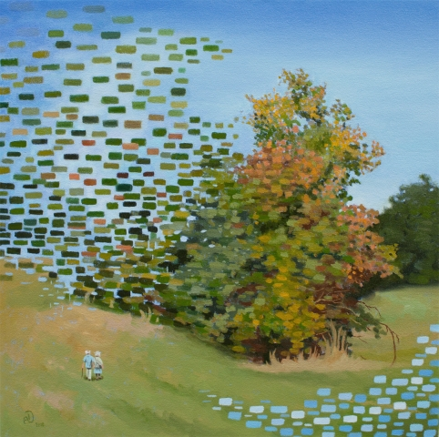 Bush, time, nature, data, oil, painting
