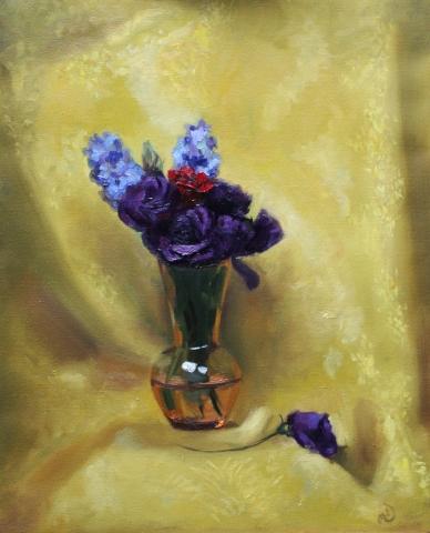 Violet Roses in Gold