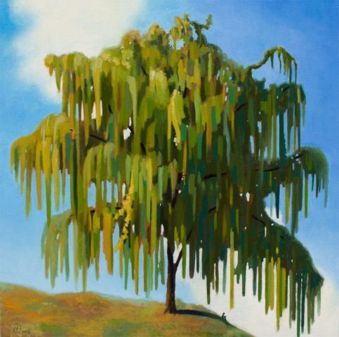 Willow, tree, painting, nature, landscape, oil