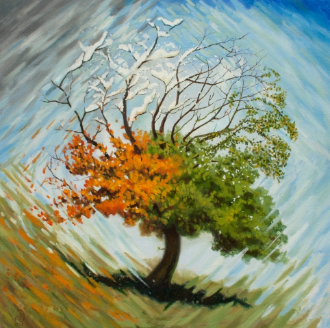 oil painting tree four seasons art