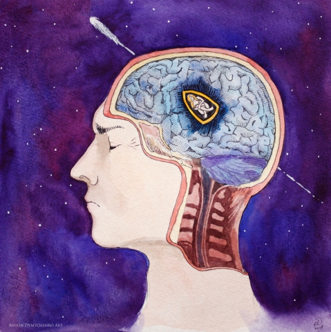 watercolor, illustration, bullet, head, love, universe