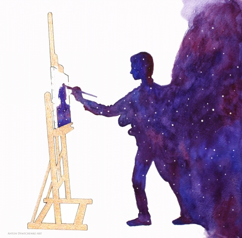 watercolor, universe, stars, artist, illustration