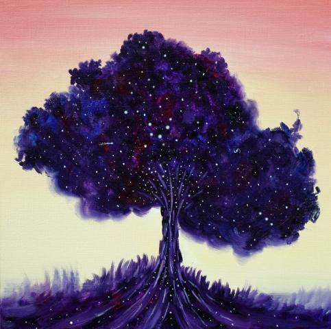 tree, universe, galaxies, space, spiritual, journey