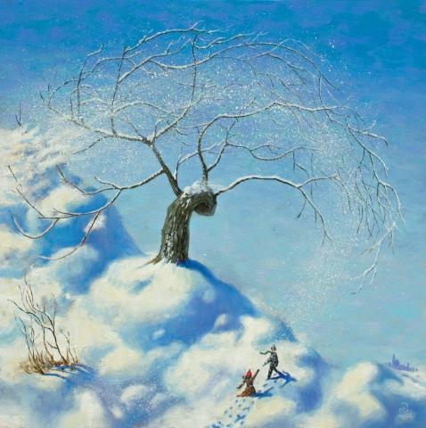 tree, winter, snow, wind, oil, painting