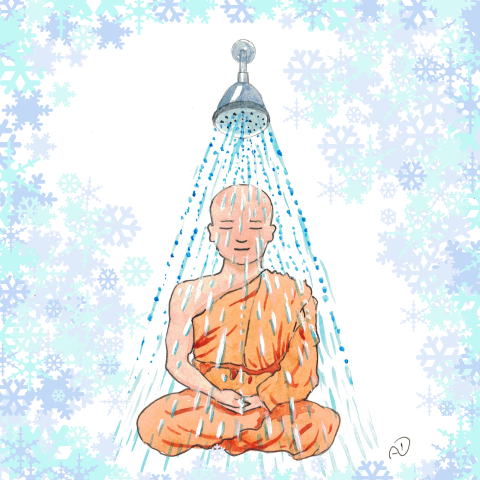 cold, shower, monk, meditation, health, lifestyle