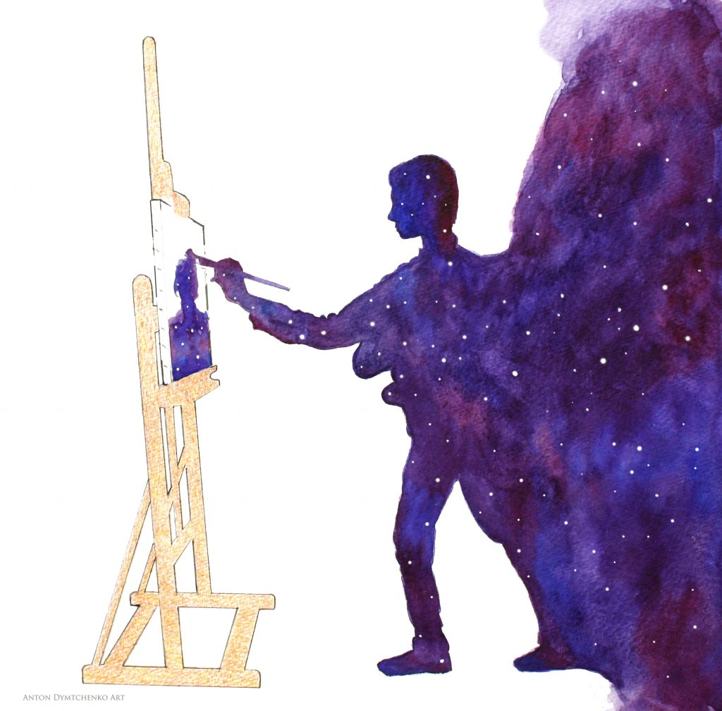 Universe becoming a painter painting a self-portrait.