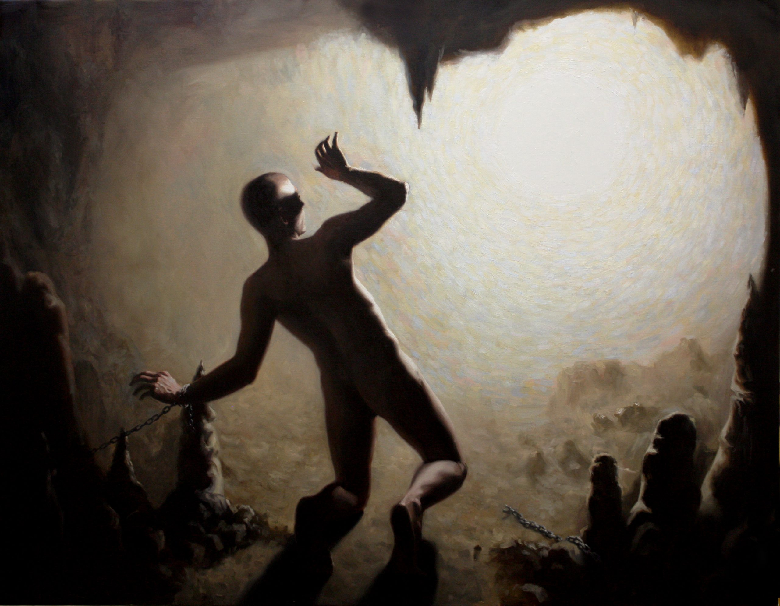Cave, allegory, plato, oil, painting