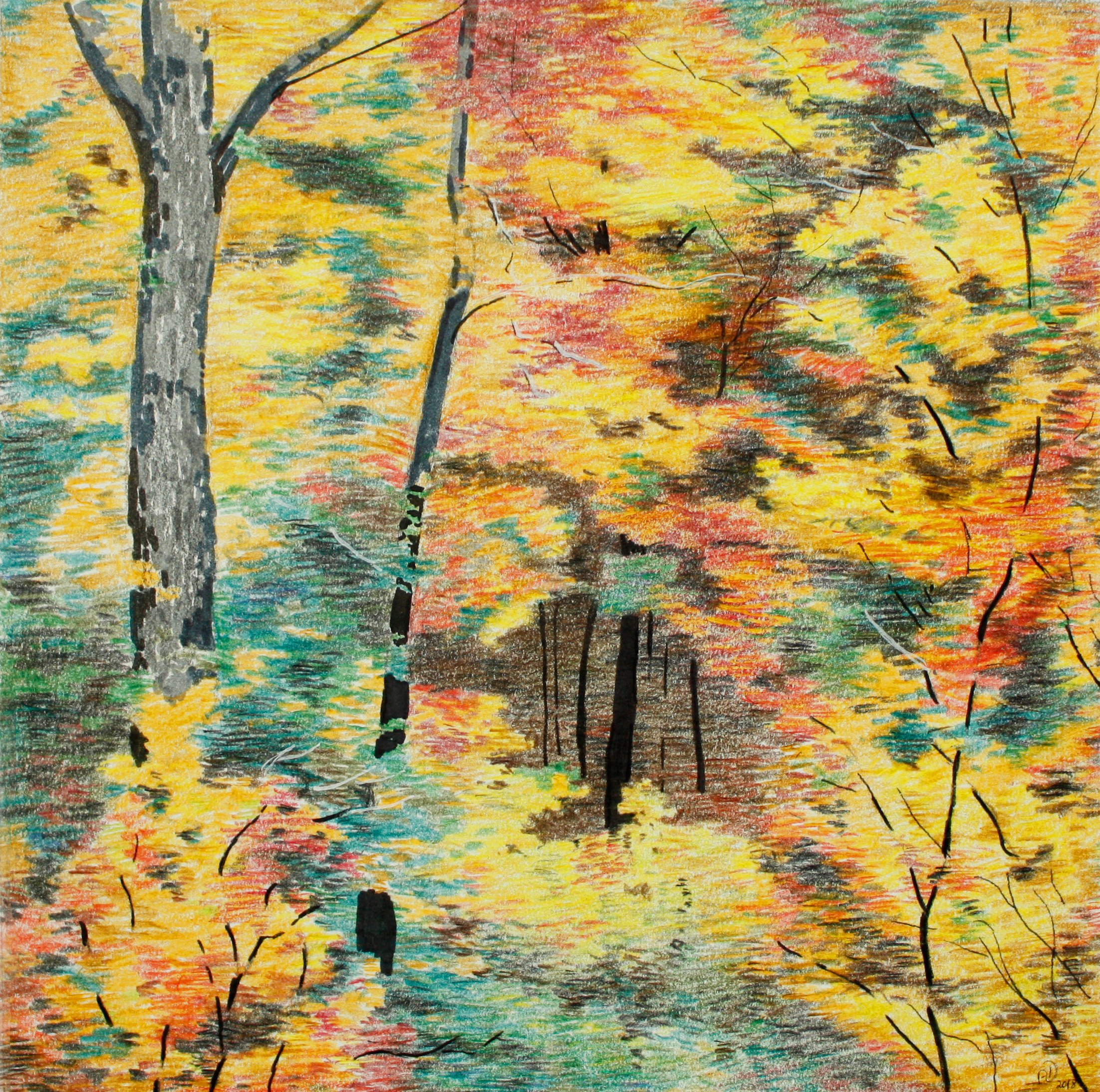 forest autumn tree nature color picture drawing buy original art canada