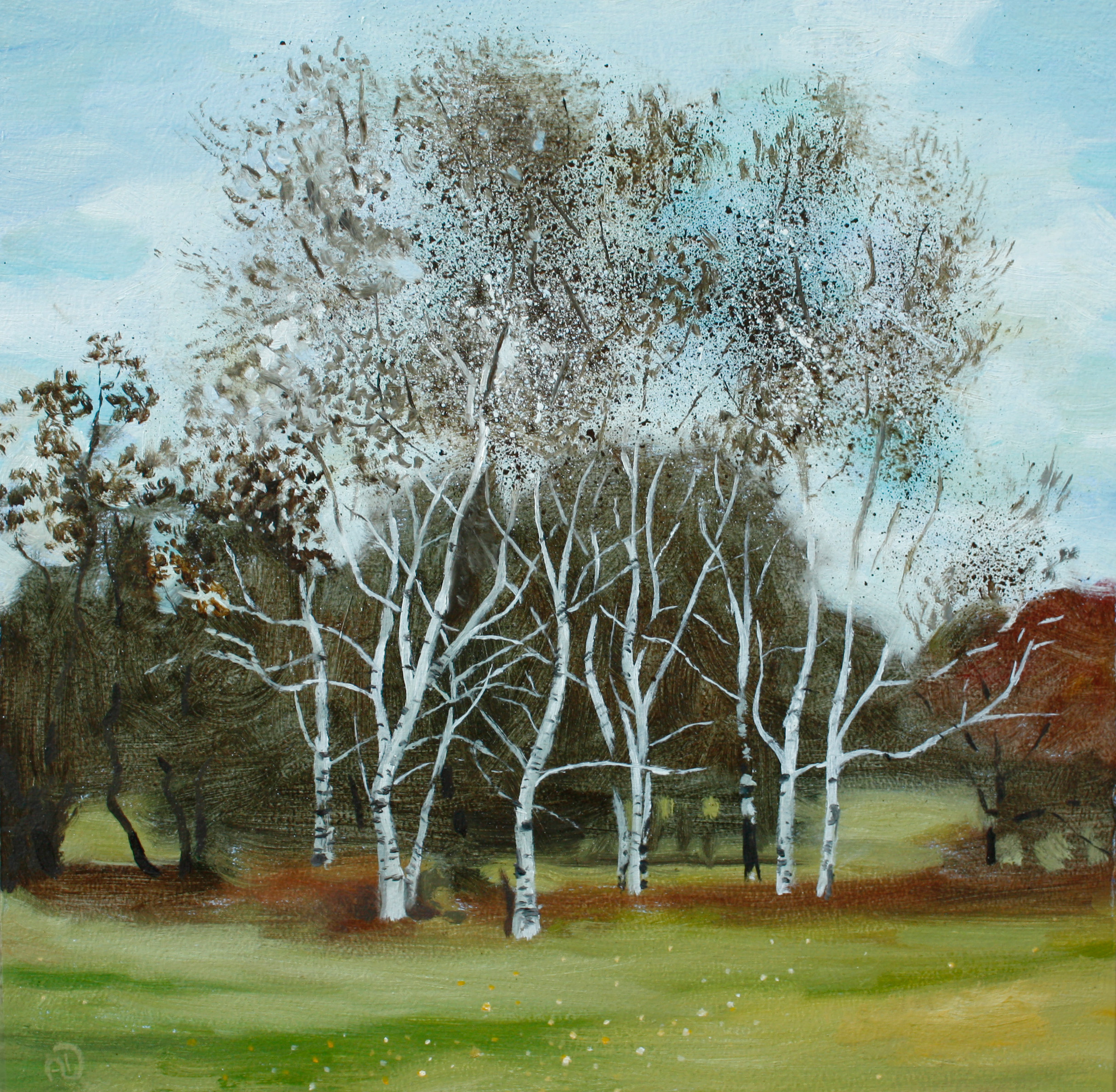 tree landscape birch birches oil painting