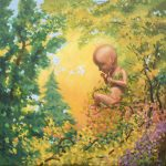 child of nature painting baby fetus floating in autumn forest