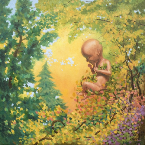 child of nature inside forest landscape autumn oil painting