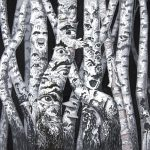 Haunted Birch Forest Scary Eyes Trees Ink Drawing ad
