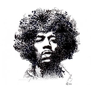 Jimi Hendrix Ink Portrait