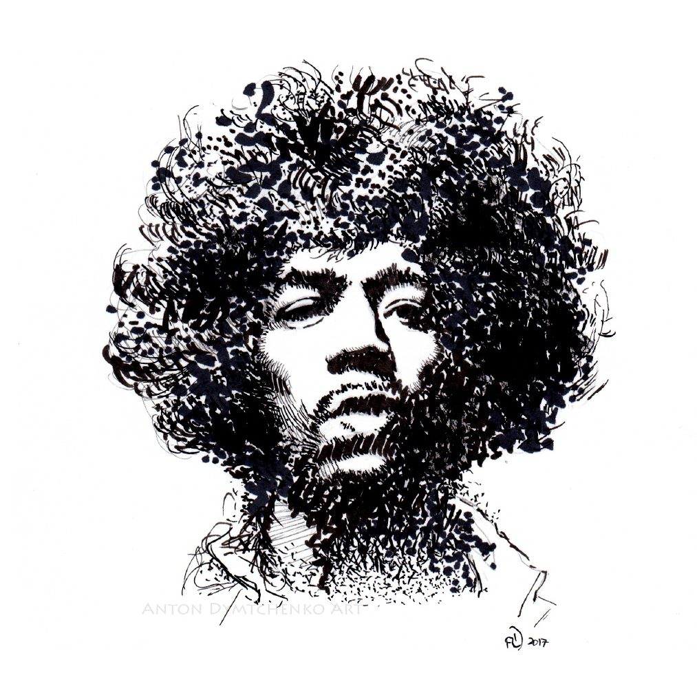 Jimi Hendrix Ink Drawing Canadian Art Buy