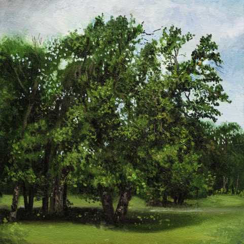 Tree, green, park, wind, oil, painting