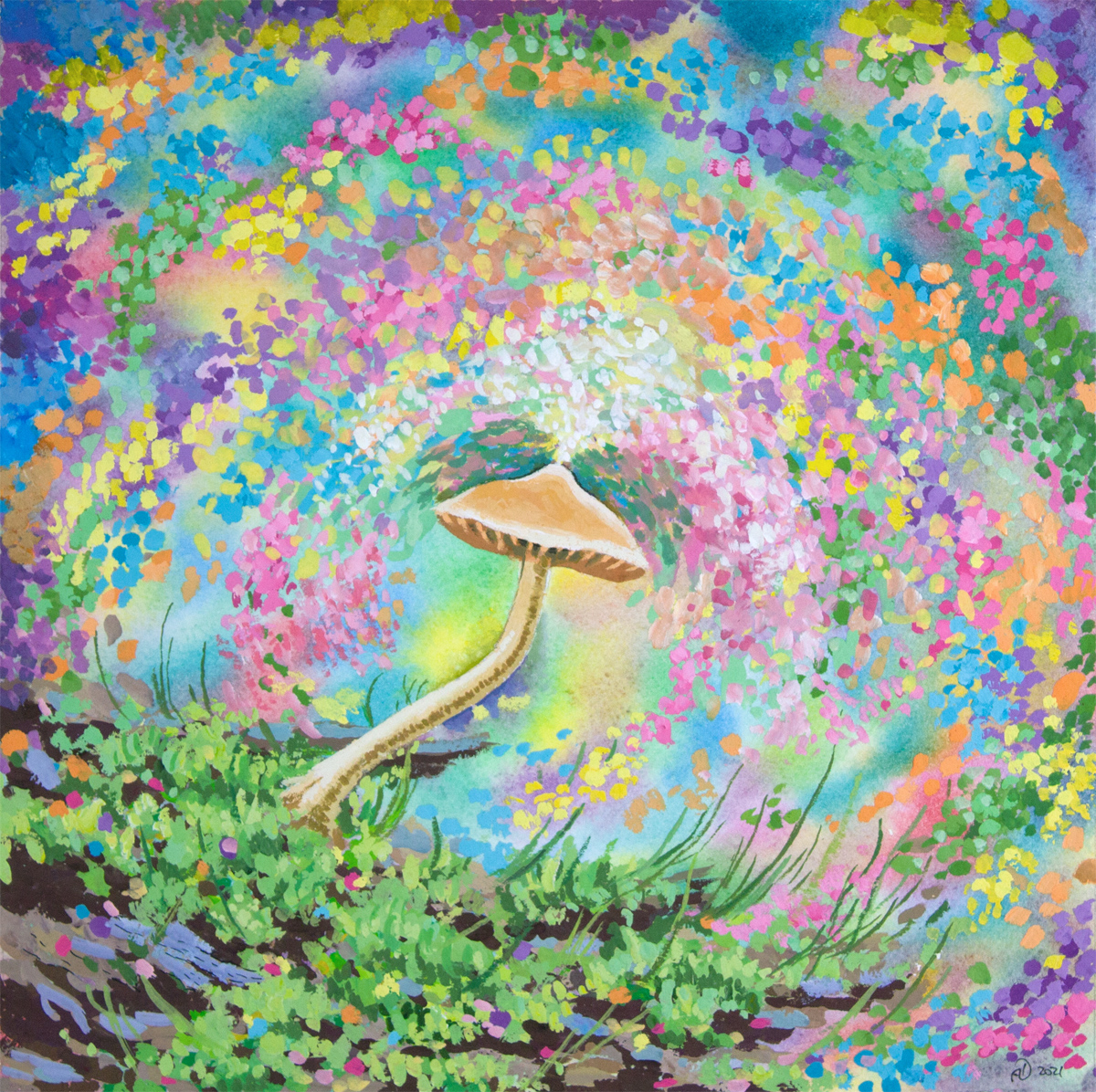 Mushroom Dreaming of Magic Painting Watercolor Gouache