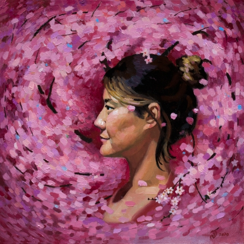 korean cherry blossom girl woman canadian art buy