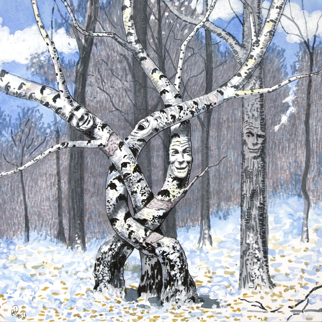 drawing mixed media art tree birch winter forest joke laughter