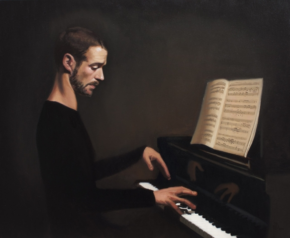 oil, painting, pianist, classical, portrait