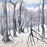 Winter Forest Folk Painting Illustration Watercolor Ink
