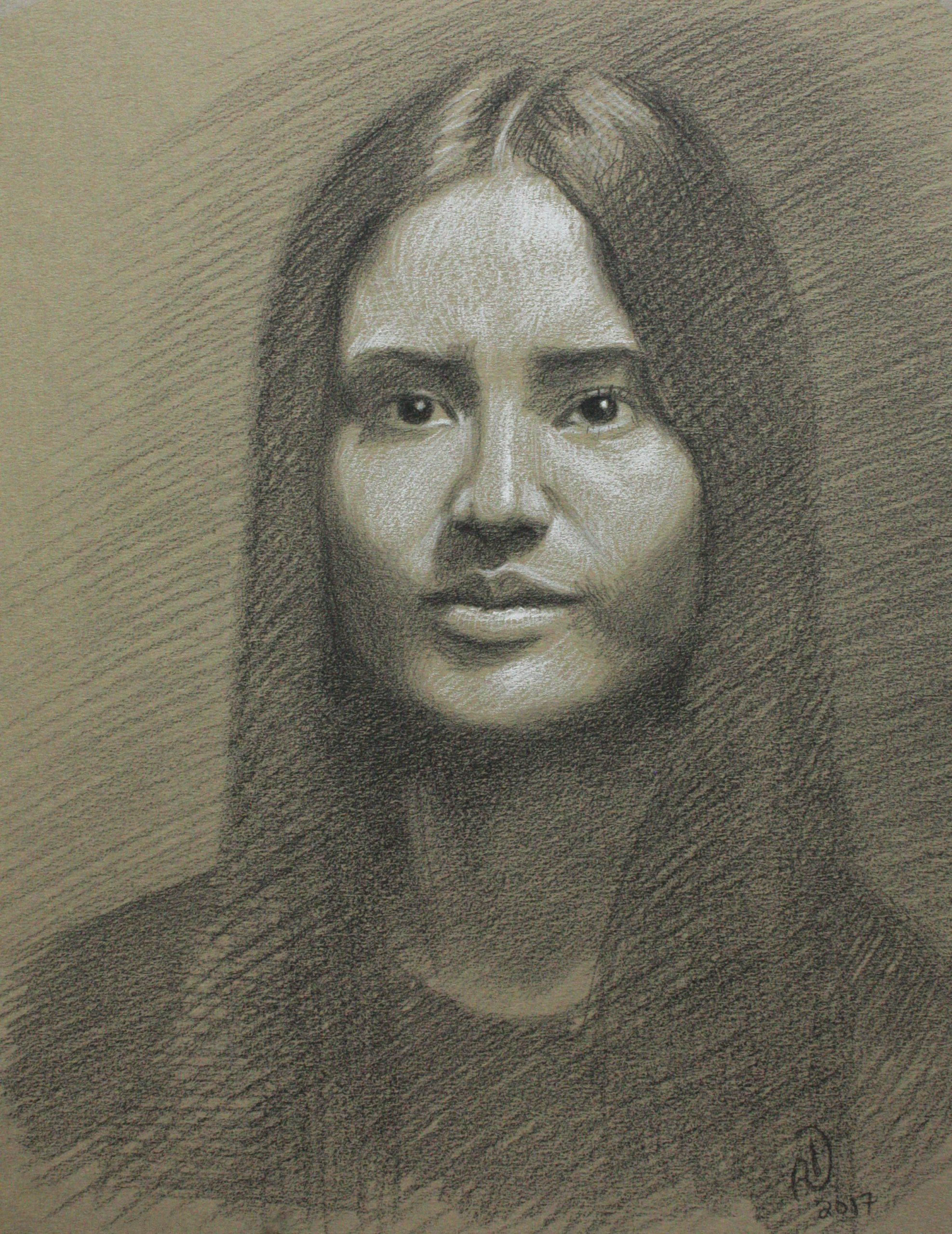 portrait, pencil, drawing,