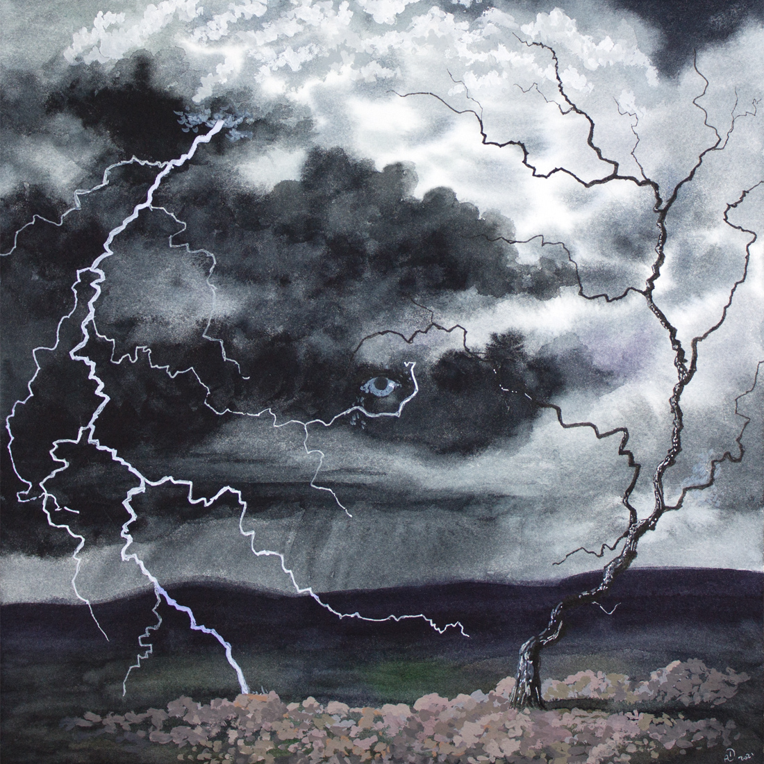 watercolor, gouache, ink, painting, drawing, storm, clouds, sky