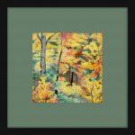 Autumn Forest Pencil Drawing Framed Green Mat