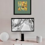 Autumn Forest Pencil Drawing Framed Green Mat In Room