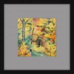 Autumn Forest Pencil Drawing Framed Grey Mat