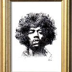Jimi Hendrix Ink Drawing Framed