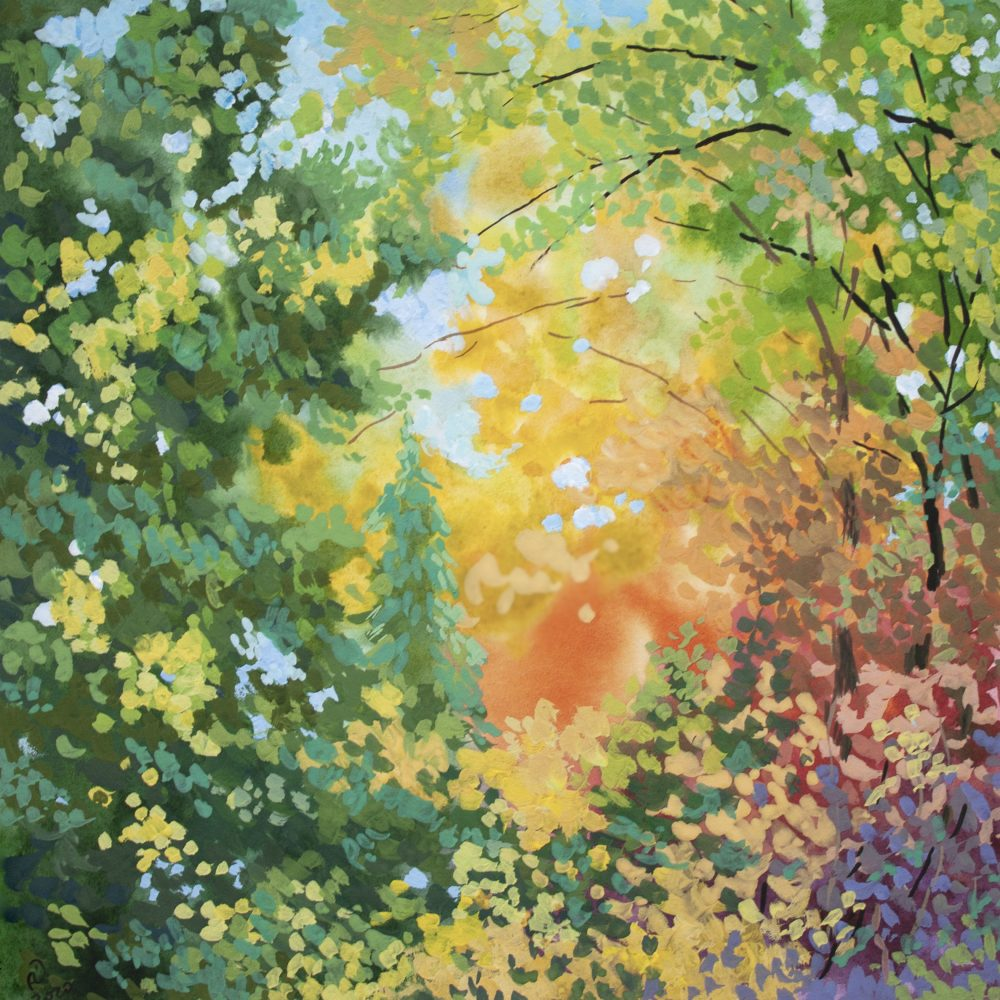 autumn wave painting watercolor gouache canadian art buy