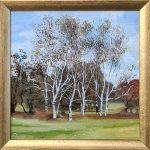 November Birches Oil Painting Framed