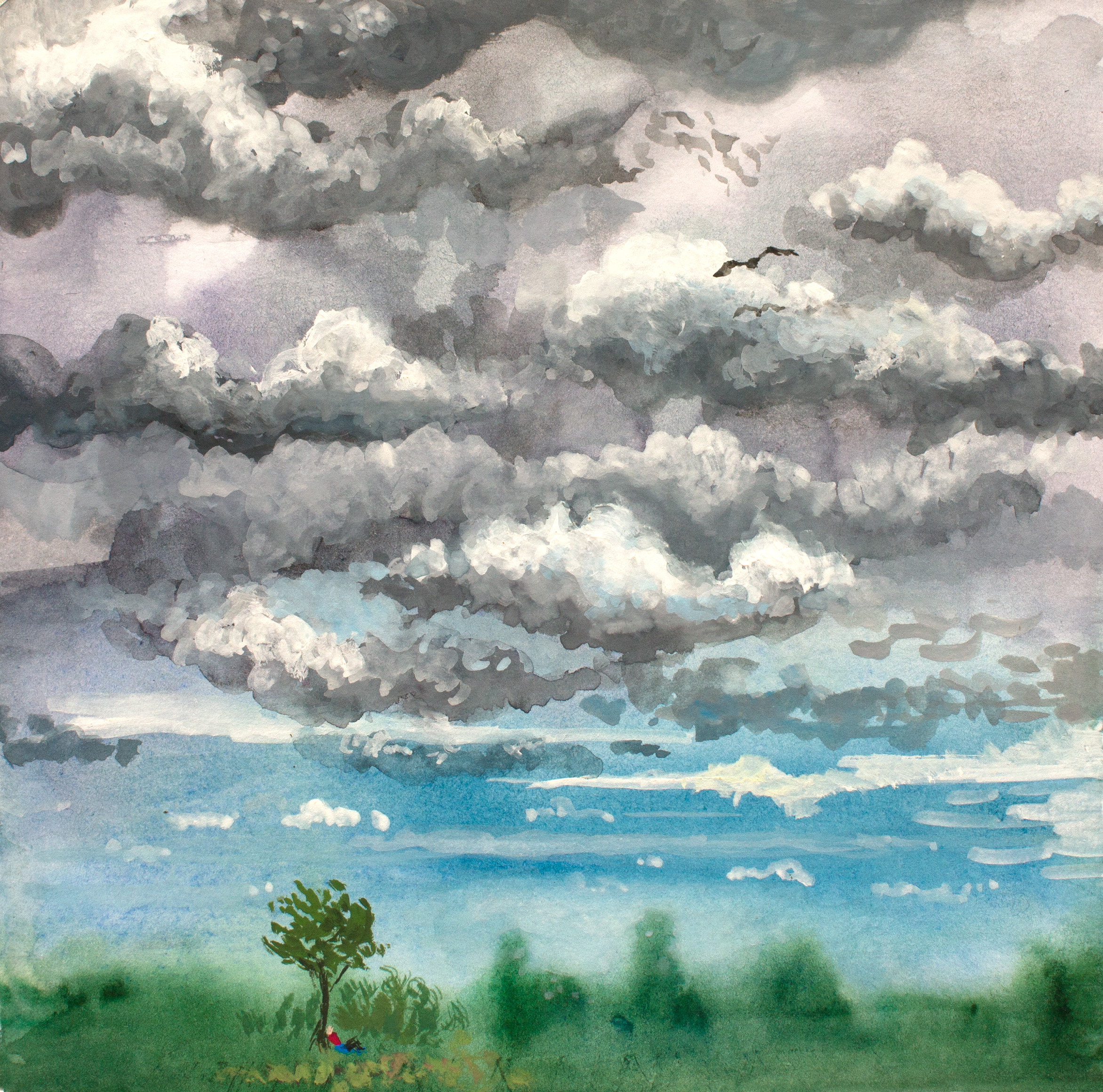 Summer Watercolor Clouds Painting Canadian Landscape Art