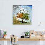 Four Seasons Tree Original Oil Painting In Room