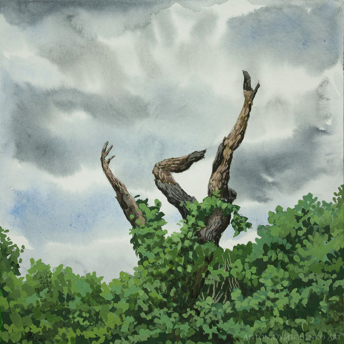 She Fell Tree Watercolor Gouache Painting