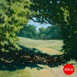 There's a red house over yonder oil painting Canadian landscape