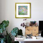 Mushroom Dreaming of Magic Painting Framed Gold in Room