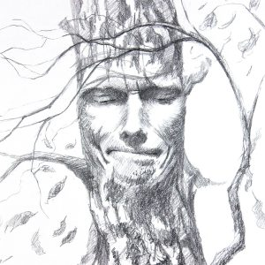 Melancholic Tree Face Expression Pencil Drawing