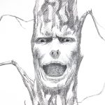 Screaming Tree Face Expression Pencil Drawing