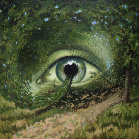 Eye of Nature inside forest landscape painting